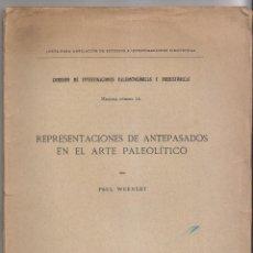 Libros antiguos: PAUL WERNET: REPRESENTACIONES DE ANTEPASADOS EN EL ARTEPALEOLÍTICO. 1916 PREHISTORIA. Lote 157958926