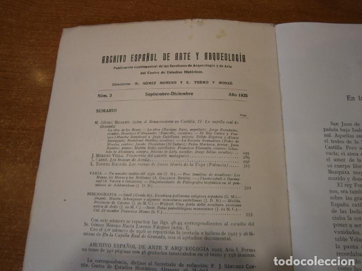 Libros antiguos: ARCHIVO ESPAÑOL DE ARTE Y ARQUEOLOGIA. Nº 3 AÑO 1925 - Foto 2 - 165298678