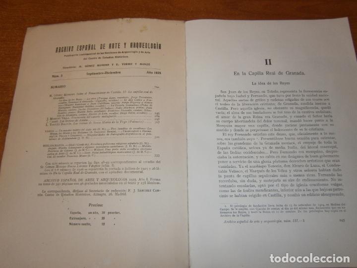 Libros antiguos: ARCHIVO ESPAÑOL DE ARTE Y ARQUEOLOGIA. Nº 3 AÑO 1925 - Foto 3 - 165298678