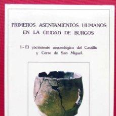 Libros antiguos: PRIMEROS ASENTAMIENTOS HUMANOS EN LA CIUDAD DE BURGOS. AÑO: 1987. BUEN ESTADO.. Lote 168851180