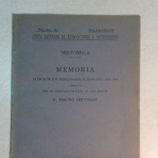Libros antiguos: NARCISO SENTENACH: NERTÓBRIGA. MEMORIA ACERCA DE LOS TRABAJOS EFECTUADOS EN EL AÑO 1920 (1920). Lote 174109709