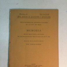 Libros antiguos: CARLOS ROMÁN. EXCAVACIONES EN DIVERSOS LUGARES DE LA ISLA DE IBIZA. MEMORIA (1921). Lote 174109797