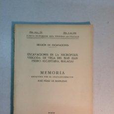 Libros antiguos: JOSÉ PÉREZ DE BARRADAS: MEMORIA EXCAVACIONES NECRÓPOLIS VISIGODA DE VEGA DEL MAR (1934). Lote 174346202