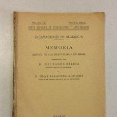 Libros antiguos: JOSÉ RAMÓN MÉLIDA Y BLAS TARACENA AGUIRRE: MEMORIA EXCAVACIONES DE NUMANCIA 1920-1921 (1921). Lote 174996768