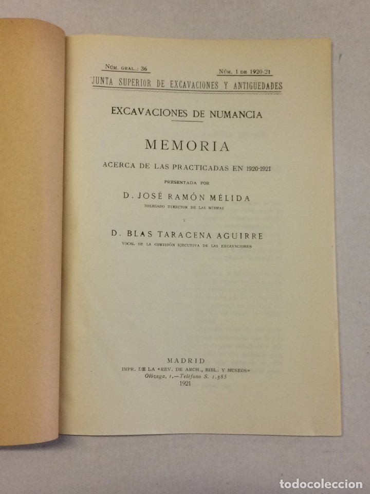 Libros antiguos: José Ramón Mélida y Blas Taracena Aguirre: Memoria excavaciones de Numancia 1920-1921 (1921) - Foto 4 - 174996768
