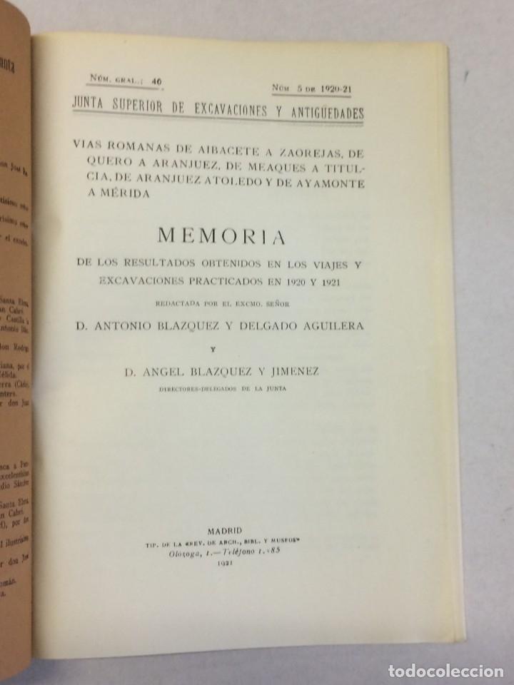 Libros antiguos: Antonio Blázquez y Delgado, Angel Blázquez y Jiménez: Memoria excavaciones vías romanas de Albacete - Foto 3 - 174996832