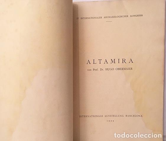 Libros antiguos: Altamira. (Hugo Obermaier. Barcelona, 1929. IV Congreso Internacional Arqueología - Foto 3 - 177487529