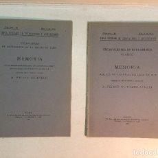 Libros antiguos: PELAYO QUINTERO: MEMORIAS EXCAVACIONES EN EXTRAMUROS DE LA CIUDAD DE CÁDIZ, AÑOS 1918 Y 1919 (1920). Lote 180173948