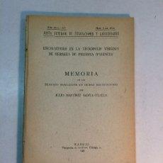 Libros antiguos: JULIO MARTÍNEZ SANTA-OLALLA: EXCAVACIÓN EN LA NECRÓPOLIS VISIGODA DE HERRERA DE PISUERGA (1933). Lote 180174170
