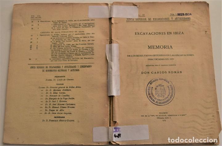 Libros antiguos: MEMORIA DE LAS EXCAVACIONES EN IBIZA DEL AÑO 1923 - CARLOS ROMÁN - MADRID 1924 - Foto 2 - 184019015