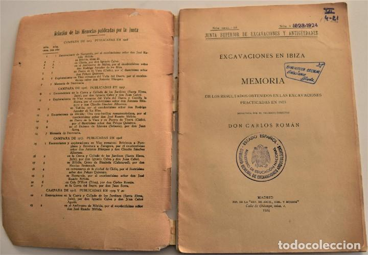 Libros antiguos: MEMORIA DE LAS EXCAVACIONES EN IBIZA DEL AÑO 1923 - CARLOS ROMÁN - MADRID 1924 - Foto 3 - 184019015