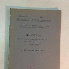 Libros antiguos: JUAN CABRÉ Y FEDERICO MOTOS: MEMORIA DE LAS EXCAVACIONES EN LA NECRÓPOLIS DE TÚTUGI(GRANADA) EN 1918. Lote 185774462