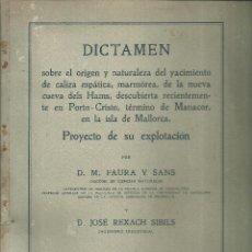 Libros antiguos: 3892.-PORTO CRISTO- MANACOR-MALLORCA-PLANOS YACIMIENTO CALIZA EN CUEVA DE HAMS-ABRIL 1918. Lote 195490060