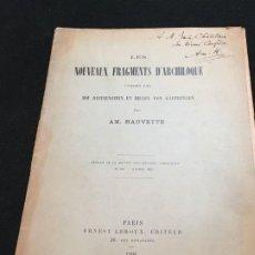 Libros antiguos: AM. HAUVETTE. LES NOUVEAUX FRAGMENTS D'ARCHILOQUE.., DEDICATOIA AUTÓGRAFA. PARIS, 1901.. Lote 195494676