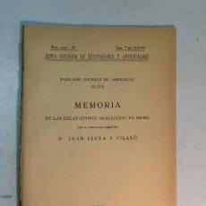 Libros antiguos: JUAN SERRA Y VILARÓ: MEMORIA EXCAVACIONES EN EL POBLADO IBÉRICO DE ANSERESA OLIUS (1921). Lote 196278427