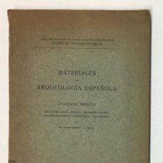 Libros antiguos: MATERIALES DE ARQUEOLOGÍA ESPAÑOLA. CUADERNO PRIMERO. ESCULTURA GRECO-ROMANA.... Lote 196738760
