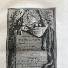 Libros antiguos: ANTITIQUITES D HERCULANUM, TOMO IV, 1781. SYLVAIN/DAVIR. POSEE 130 GRABADOS. Lote 199919373