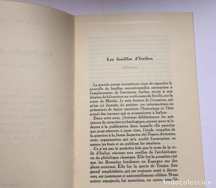 Libros antiguos: LES FOUILLES D' ITALICA (Mata Carriazo) París, 1935. Texto fancés. Arqueología - Foto 2 - 204188273