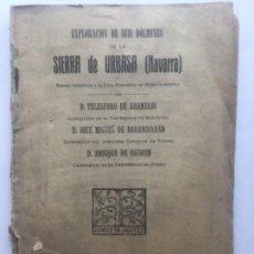 Libros antiguos: EXPLORACION SEIS DOLMENES DE LA SIERRA DE URBASA NAVARRA - 1923 - ARANZADI BARANDIARAN EGUREN - 32+X. Lote 209208900