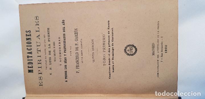 Libros antiguos: Colección completa de 6 tomos. Meditaciones Espirituales. 5ª edición. P. Francisco P. Garzón. - Foto 4 - 209857957