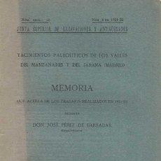 Libros antiguos: JOSÉ PÉREZ DE BARRADAS. YACIMIENTOS PALEOLÍTICOS DE LOS VALLES DEL MANZANARES Y DEL JARAMA (MADRID).. Lote 210205312