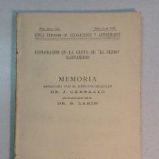 Libros antiguos: J. CARBALLO Y B. LARÍN: EXPLORACIÓN EN LA GRUTA DE 'EL PENDO' (SANTANDER) (1933). Lote 230627070