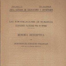Libros antiguos: MANUEL GONZÁLEZ SIMANCAS. LAS FORTIFICACIONES DE NUMANCIA.. Lote 231289535