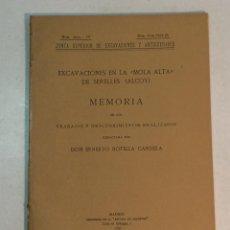 """Libros antiguos: ERNESTO BOTELLA CANDELA: EXCAVACIONES EN LA """"MOLA ALTA"""" DE SERELLES (ALCOY) (1926). Lote 236447905"""