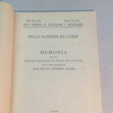 Libros antiguos: PELAYO QUINTERO ATAURI: EXCAVACIONES EN CÁDIZ (1933). Lote 238148725