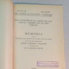 Libros antiguos: PEDRO PARÍS, ADRIAN BRUHL: EXCAVACIONES EN EL CABEZO DE CASCARAUJO)(TERUEL)(1932). Lote 238150395