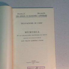 Libros antiguos: PELAYO QUINTERO ATAURI: EXCAVACIONES DE CADIZ. MEMORIA DE LAS EXCAVACIONES PRACTICADAS EN 1929-1931. Lote 238694540