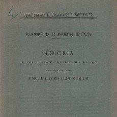 Libros antiguos: RODRIGO AMADOR DE LOS RÍOS. EXCAVACIONES EN EL ANFITEATRO DE ITÁLICA.. Lote 242029670