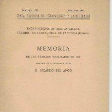 Libros antiguos: RICARDO DEL ARCO. EXCAVACIONES EN EL MONTE CILLAS. CONSUEGRA DE FANTOVA (HUESCA). Lote 242029790