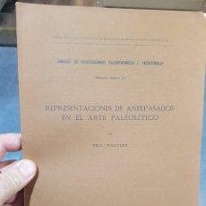 Libros antiguos: LIBRO REPRESENTACIONES ANTEPASADOS ARTE PALEOLÍTICO MADRID 1916 ARQUEOLOGÍA. Lote 269283898