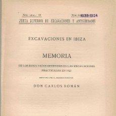 Libros antiguos: CARLOS ROMAN. EXCAVACIONES EN IBIZA II. 1924. Lote 277211913