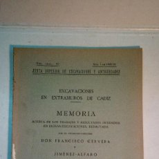 Libros antiguos: FRANCISCO CERVERA Y JIMÉNEZ ALFARO: ESCAVACIONES EN EXTRAMUROS DE CÁDIZ (1923). Lote 289021733