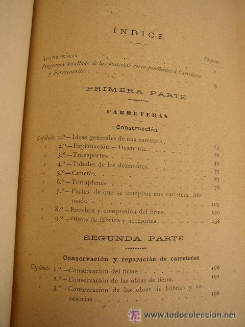 Libros antiguos: ELEMENTOS DE CARRETERAS Y FERROCARRILES(CONSTRUCCIÓN Y CONSERVACIÓN)-FRANCISCO PONTE Y BLANCO 1899 - Foto 5 - 25847899