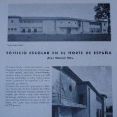 Libros antiguos: SANTANDER. TORRELAVEGA,ESCUELAS,ARQUITECTO RAFAEL SAN ROMAN.MANUEL VIAS.2 PG.1934. Lote 28328250