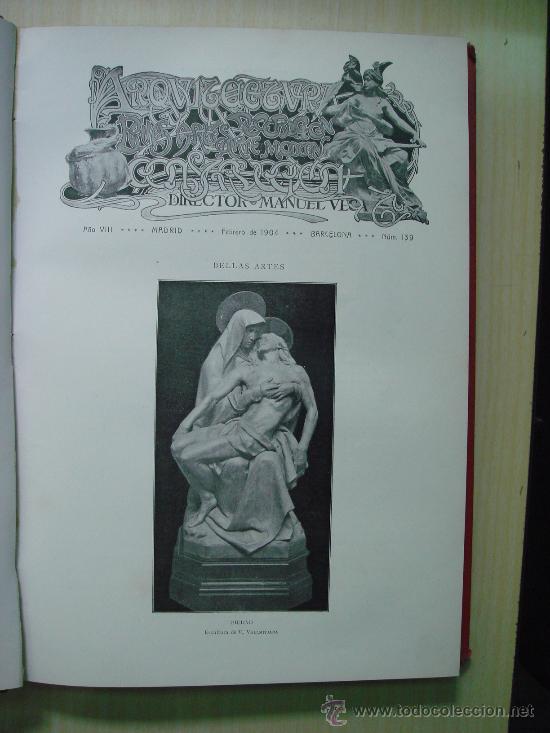 Libros antiguos: ARQUITECTURA Y CONSTRUCCION. 1902-1905 y 1908-1911, 8 Tomos, revista mensual - Foto 6 - 32332949