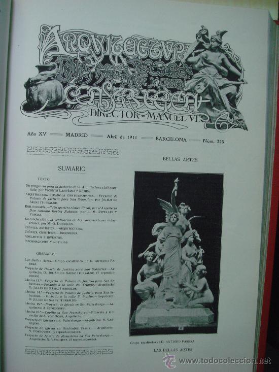 Libros antiguos: ARQUITECTURA Y CONSTRUCCION. 1902-1905 y 1908-1911, 8 Tomos, revista mensual - Foto 13 - 32332949