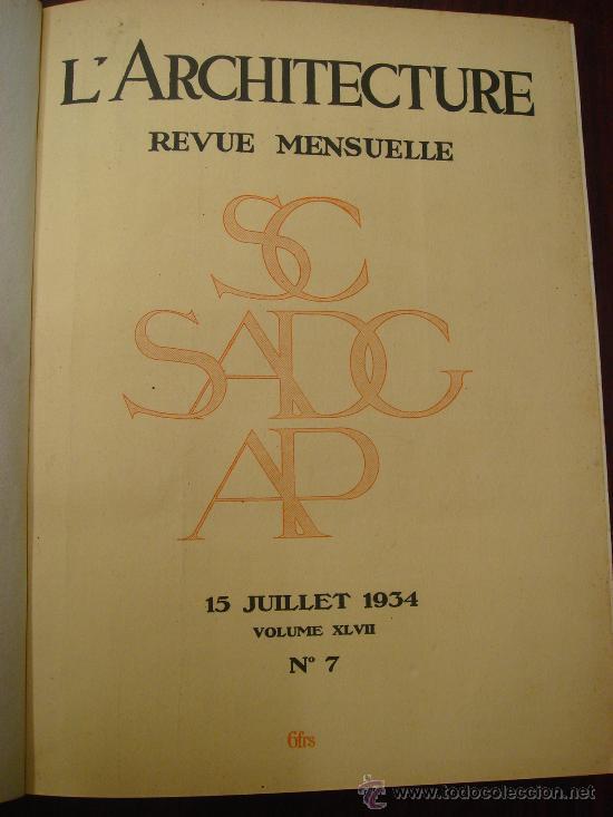 Libros antiguos: L ARCHITECTURE, 1934-37, 5 Tomos, revista mensual - Foto 2 - 32451017