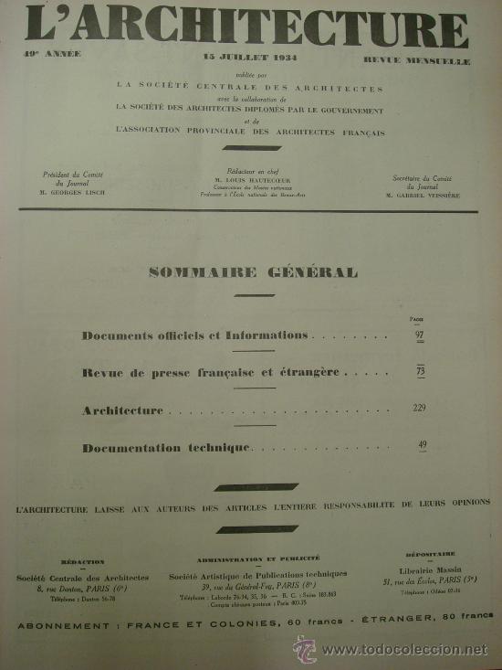 Libros antiguos: L ARCHITECTURE, 1934-37, 5 Tomos, revista mensual - Foto 3 - 32451017