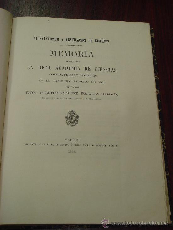 Libros antiguos: CALENTAMIENTO Y VENTILACION DE EDIFICIOS. 1868, - Foto 2 - 32705725