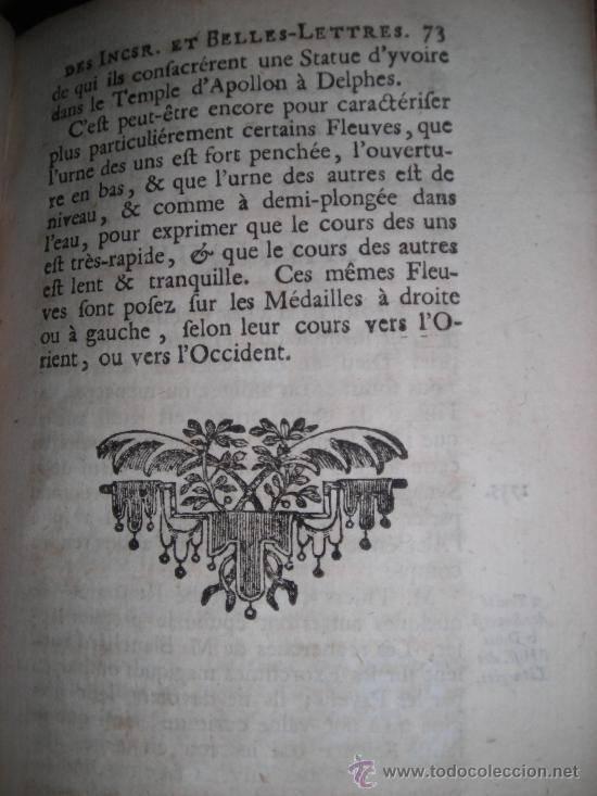 Libros antiguos: Histoire de L´Academie Royale des Inscriptions et Belles-Lettres, tomo VI, 1743, Contiene 9 grabados - Foto 6 - 33227460