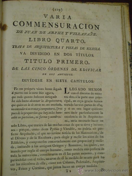 Libros antiguos: VARIA COMMENSURACION PARA LA ESCULTURA, Y ARQUITECTURA. 1795, Juan de Arphe y Villafañe - Foto 12 - 33220192