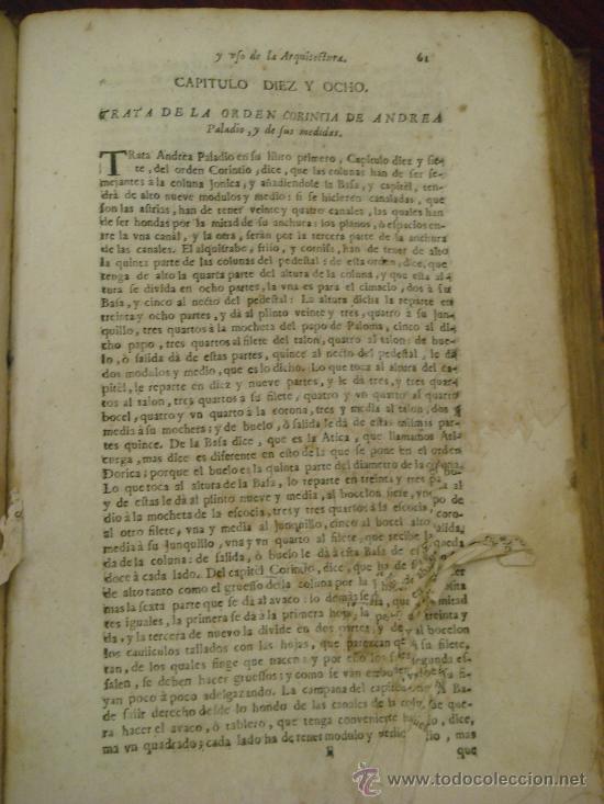 Libros antiguos: ARTE Y USO DE LA ARQUITECTURA, 1736, 2 Vol.,Lorenzo de San Nicolas y dirigido al Patriarcha San Jose - Foto 12 - 33219969