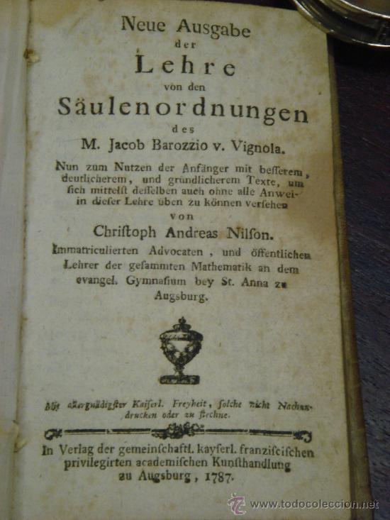 Libros antiguos: NEUE AUSGABE DER LEHRE VON DEN SÄULENORDNUNGEN, 1787, M. Jacob Barozzio v. Vignola - Foto 2 - 33290375