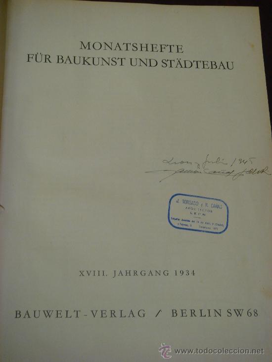 Libros antiguos: MONATSHEFTE FÜR BAUKUNST UND STÄDTEBAU. XVIII. Jahrgang, 1935 - Foto 2 - 35140362