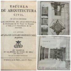 Libros antiguos: ESCUELA DE ARQUITECTURA CIVIL. ATANASIO GENARO BRIZGUZ Y BRU. VALENCIA 1804. 54 LÁMINAS. DESCRIPCIÓN. Lote 35435551