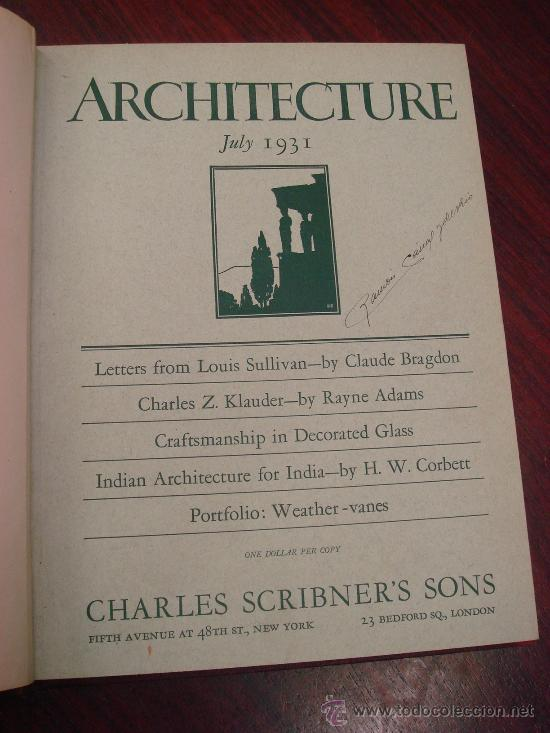 Libros antiguos: ARCHITECTURE,THE PROFESSIONAL ARCHITECTURAL MONTHLY. Vol. LXIII y LXIV. 1931. 2 Tomos. - Foto 3 - 35666396